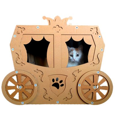 Carriage Cardboard Cat House with cat