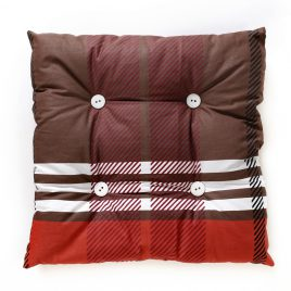 Cat pillow, brown with red and white stripes with white buttons