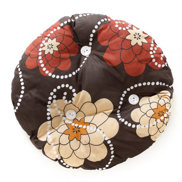 Cat pillow round, brown with dark red and light brown flowers, white dots with white buttons