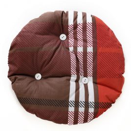 Cat pillow round, brown with red and white stripes with white buttons