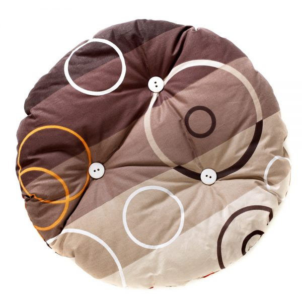 Cat pillow round, light and dark brown stripes with white and brown circles with buttons