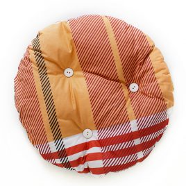 Cat pillow round, orange coloured with red and white stripes with white buttons