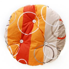 Cat pillow round, orange, red, light brown stripes, white circles with white buttons