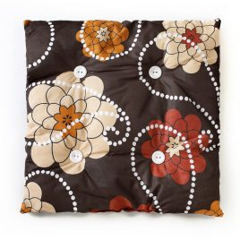 Cat rectangular pillow, dark brown with red and light brown flowers, white dots with white buttons