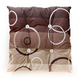 Cat rectangular pillow, light and dark brown stripes with white and brown circles with white buttons