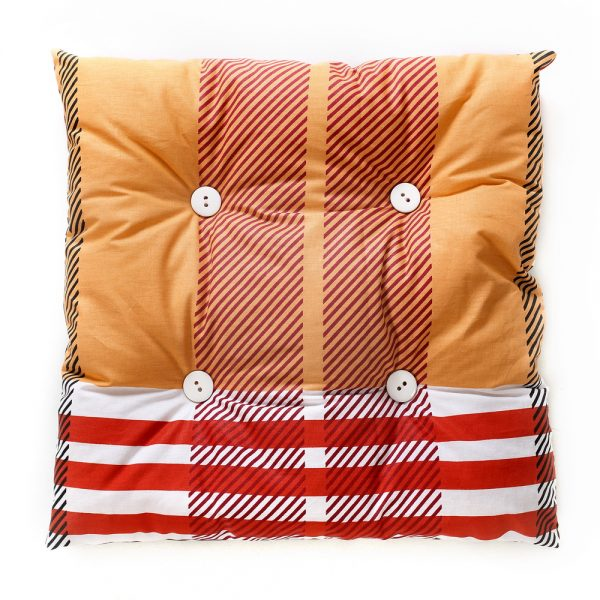 Cat rectangular pillow, orange coloured with red and white stripes.
