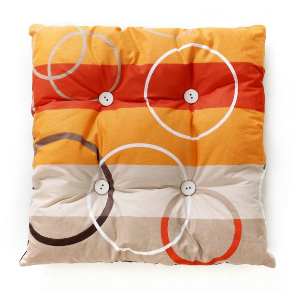 Cat rectangular pillow, orange, red, light brown stripes, white circles with white buttons