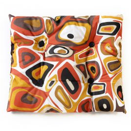 Cat rectangular pillow,motley with white, black, dark red and brown figures with black buttons
