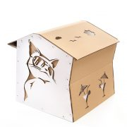 Cool Summer Cardboard Cat House back left – summer nap in a lazy afternoon