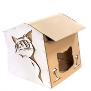 Cool Summer Cardboard Cat House top front left – summer nap in a lazy afternoon