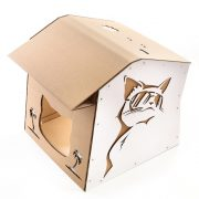 Cool Summer Cardboard Cat House top front right – summer nap in a lazy afternoon