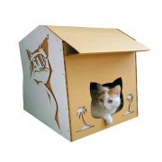 Cool Summer Cardboard Cat House with cat 1 – summer nap in a lazy afternoon