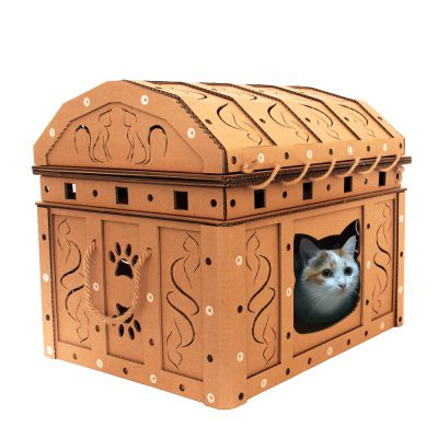 Dead Man's Chest Cardboard Cat House with cat