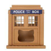 Dr Who Tardis Cardboard Cat House front – entering into an alternative world