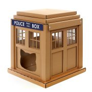 Dr Who Tardis Cardboard Cat House front left – entering into an alternative world