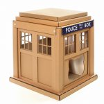 Dr Who Tardis Cardboard Cat House front right – entering into an alternative world
