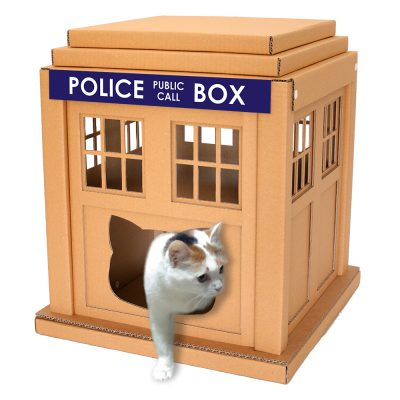 Dr Who Tardis Cardboard Cat House with cat