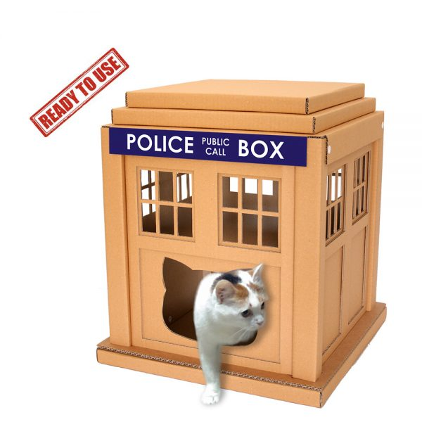 Dr Who Tardis Cardboard Cat House with cat ready to use – entering into an alternative world