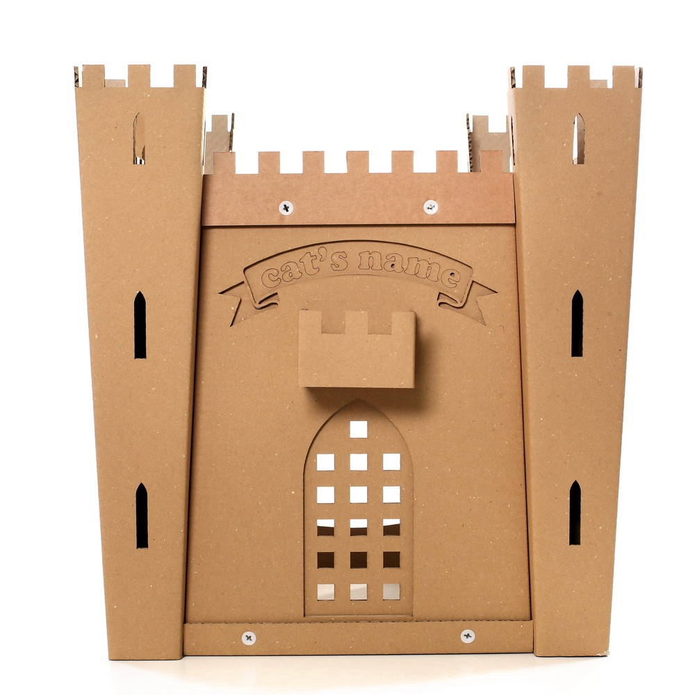 Cat 39 s fortress cardboard cat house medieval toy for your for Fortress house
