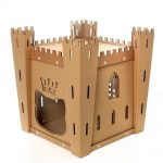Fortress Cardboard Cat House top front left – medieval toy for your fluffy