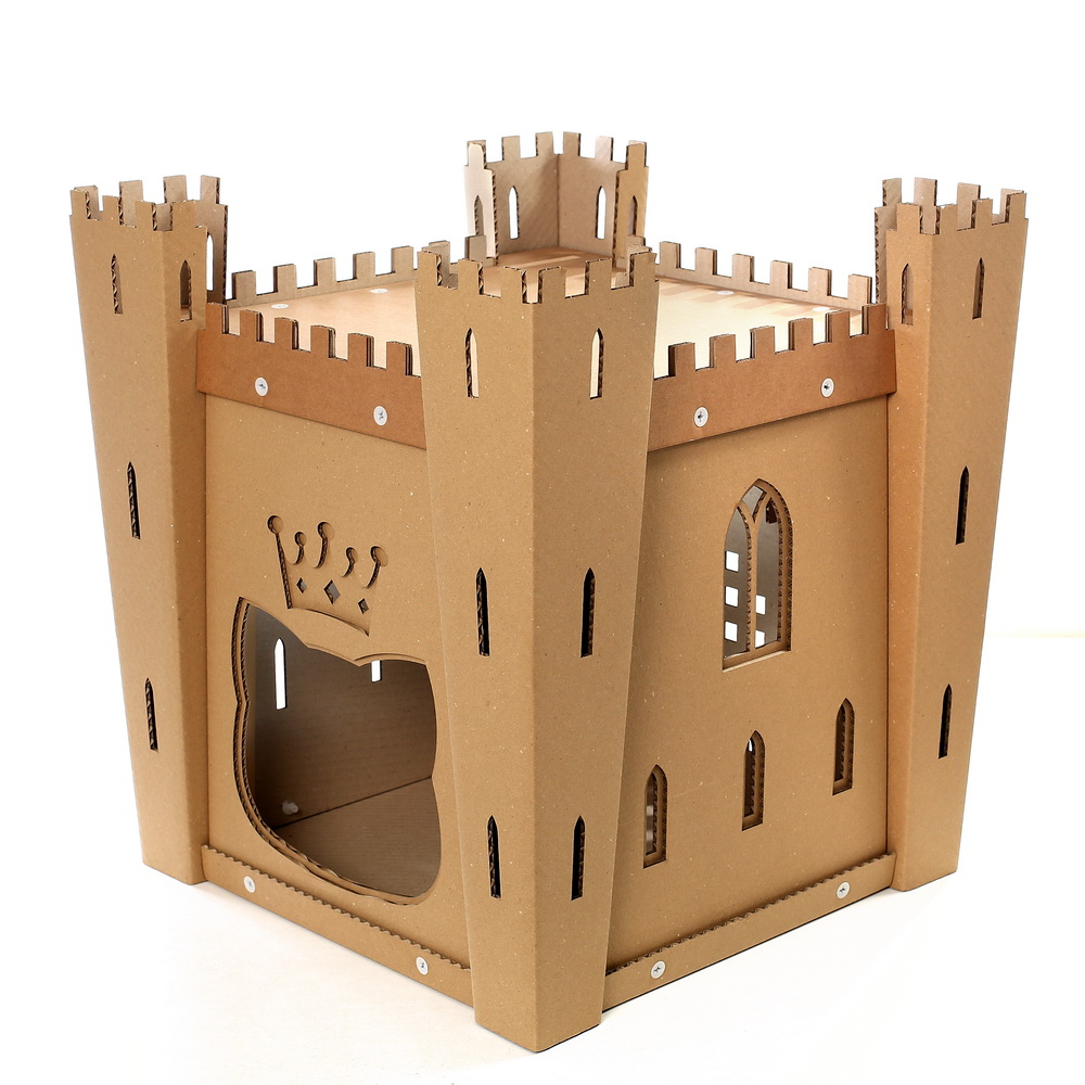 cat 39 s fortress cardboard cat house medieval toy for your. Black Bedroom Furniture Sets. Home Design Ideas