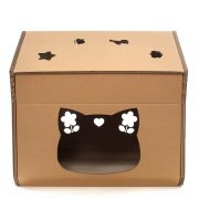 Hello Kitty Cardboard Cat House entrance – cutest cat cave ever for curious kitties