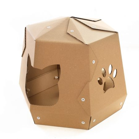 Mars One Cardboard Cat House left – let your kitty travel in space