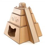 Mayan Pyramid Cardboard Cat House front left – revealing the great Maya civilization