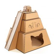 Mayan Pyramid Cardboard Cat House front right – revealing the great Maya civilization
