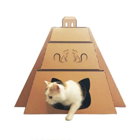 Mayan Pyramid Cardboard Cat House with cat – revealing the great Maya civilization