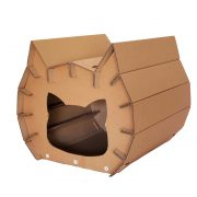Meow Cardboard Cat House front left – fashion statement in your living room