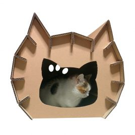 Meow Cardboard Cat House with cat - fashion statement in your living room