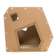 Modern Cardboard Cat House front – a modern explorer on a night out
