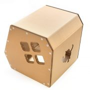 Modern Cardboard Cat House top left rear back – a modern explorer on a night out