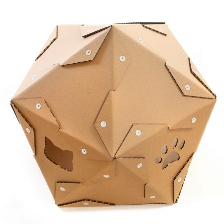 Pentagon Cardboard Cat House back top – safe haven for unusual pets