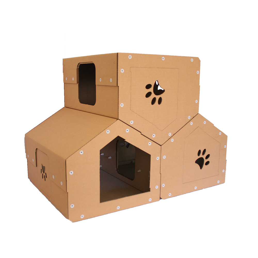 penthouse cardboard cat house dwelling with several. Black Bedroom Furniture Sets. Home Design Ideas