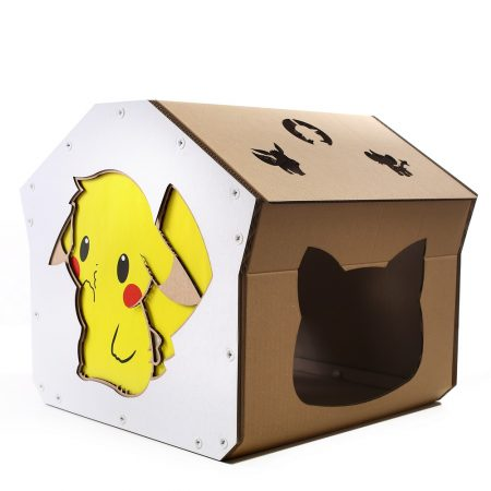 Pokemon Cardboard Cat House front left – kitty addicted to Pokemon adventure