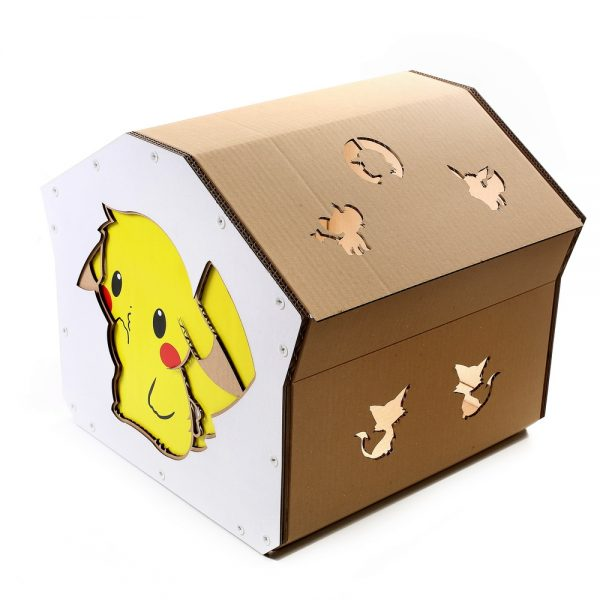 Pokemon Cardboard Cat House top back right – kitty addicted to Pokemon adventure