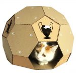 Soccer Cardboard Cat House front with cat5