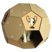 Soccer Cardboard Cat House front with cat4