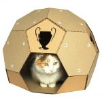 Soccer Cardboard Cat House front with cat3