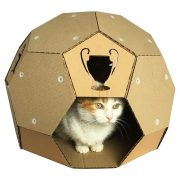 Soccer Cardboard Cat House front with cat2