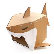 Shark Cardboard Cat House front top left – live on the edge and stay safe