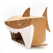 Shark Cardboard Cat House right front – live on the edge and stay safe