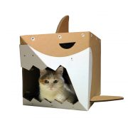 Shark Cardboard Cat House with cat – live on the edge and stay safe
