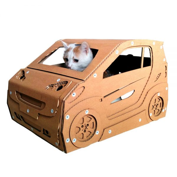 Smart Cardboard Cat House with cat – cat bed ever made that can be driven