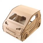 Smart Cardboard Cat House with cat front top left – cat bed ever made that can be driven