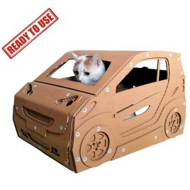 Smart Cardboard Cat House with cat - ready to use – cat bed ever made that can be driven
