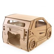 Smart Cardboard Cat House with cat top left – cat bed ever made that can be driven