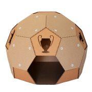 Soccer Cardboard Cat House front – football outside and refuge inside
